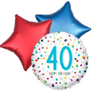 Ballonboeket confetti 40ste verjaardag bestellen of bezorgen online