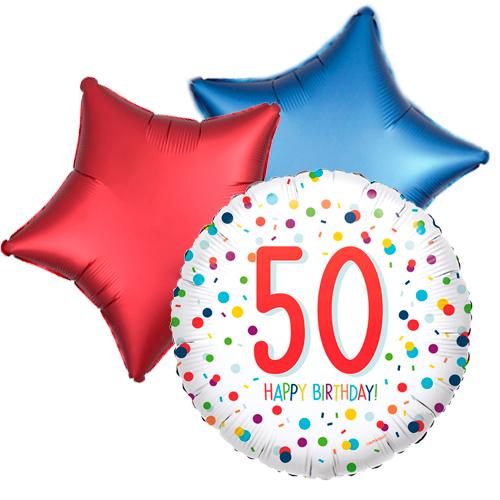 Ballonboeket confetti 50ste verjaardag bestellen of bezorgen online
