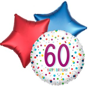 Ballonboeket confetti 60ste verjaardag bestellen of bezorgen online