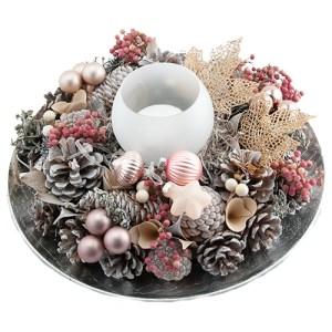 Kerststuk goud roze op schaal bestellen of bezorgen online