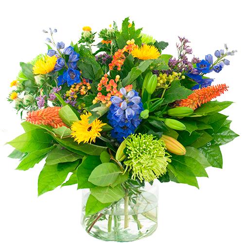 Najaarsboeket geel/oranje/blauw bestellen of bezorgen online