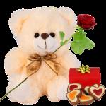 Creme witte knuffel 22cm + verse rode roos + hartjes chocolade bestellen of bezorgen