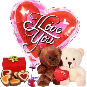 Duo knuffel + hartjes chocolade + ballon bestellen of bezorgen