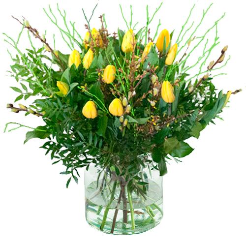 Gele tulpen met voorjaarstakken bestellen of bezorgen online