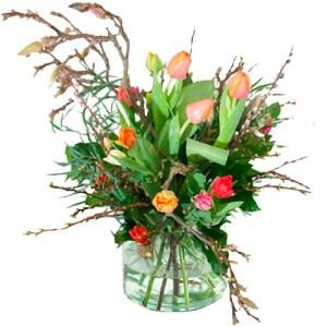 Gemengde tulpen met voorjaarstakken bestellen of bezorgen online