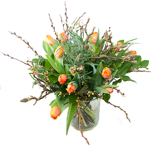 Oranje tulpen met voorjaarstakken bestellen of bezorgen online