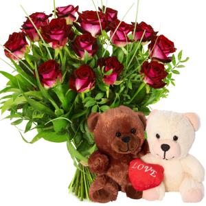 Rode rozen + duo knuffel bestellen of bezorgen