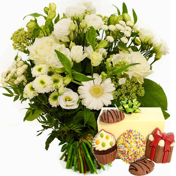 Boeket witte bloemen met feestchocolade 250 gram bestellen of bezorgen