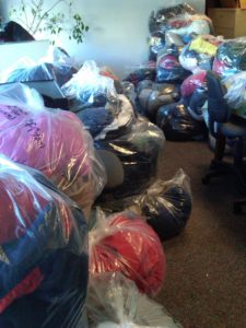 Coats donated to the Alpine Shop as part of the One Warm Coat Drive in 2010