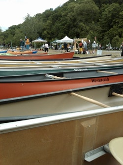 A line of Canoes at the 2010 Alpine Shop's Demo Days