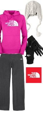 The North Face Peruvian Corded Beanie, Half Dome Hoodie, Etip Gloves and 100 TKA Microvelour Pants