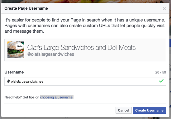 create your username on your Facebook Page
