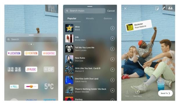 Instagram Stories music library for soundtracks