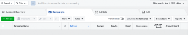 """Facebook ads manager dashboard open to Campaigns tab. Green """"Create"""" button is in top left corner."""
