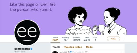 """Somecards Twitter arka plan fotoğraf: """"Bu sayfa gibi yoksa biz çalıştıran kişiyi kovmak"""""""