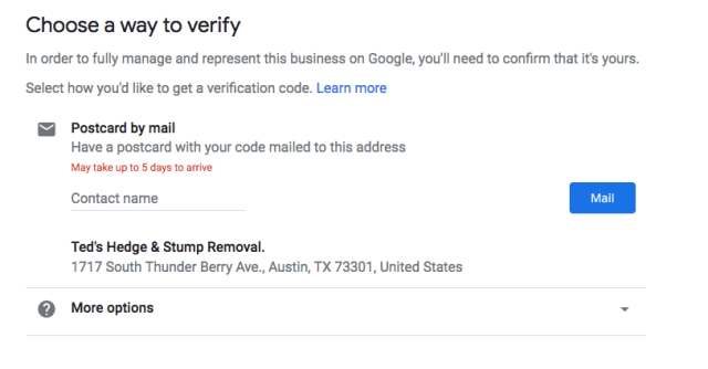 Verifying a business on Google set up