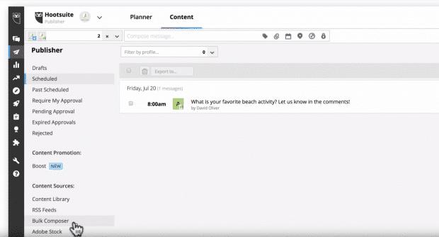 Bulk Composer button in Hootsuite Dashboard