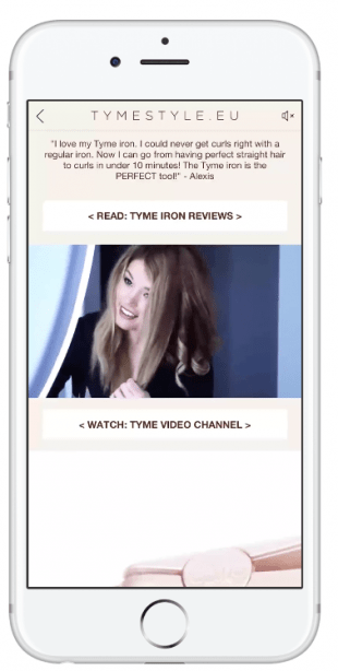 Facebook Instant Experience ad from Tyme Style