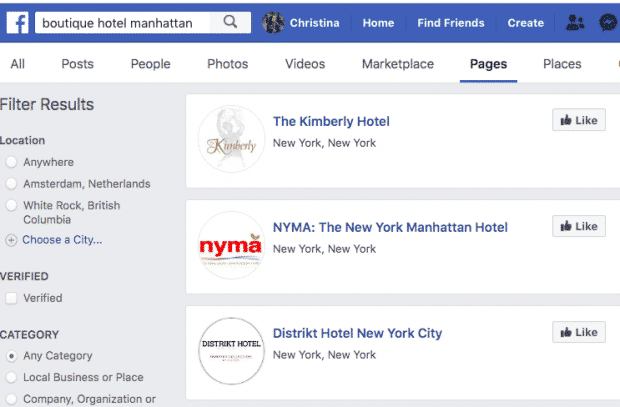 Screenshot of Facebook search results for