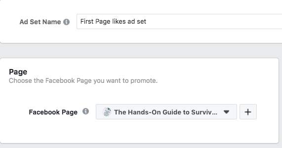 Facebook ad choose page to promote