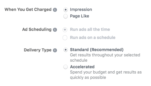 Facebook advance options