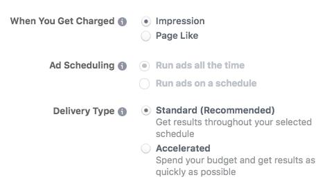 Facebook advance options