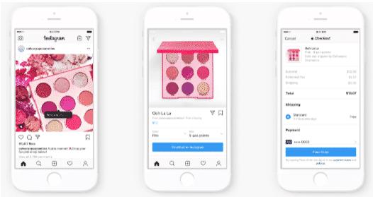 Processus de checkout Instagram comme illustré pour un produit de palette de fards à paupières