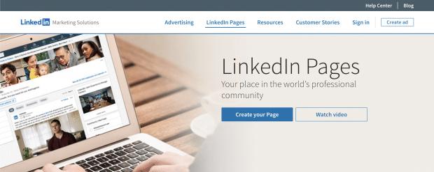 LinkedIn Pages section of LinkedIn Marketing Solutions website