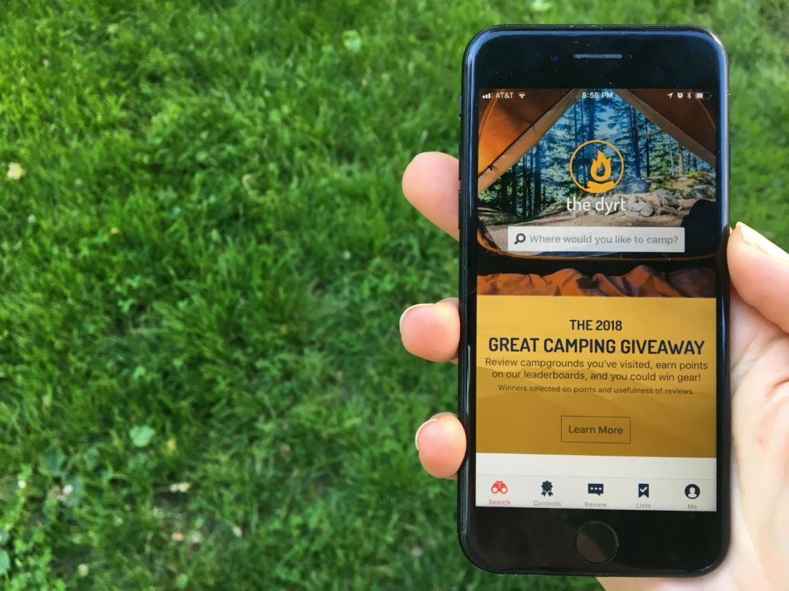 the dyrt application makes planning a camping trip easy