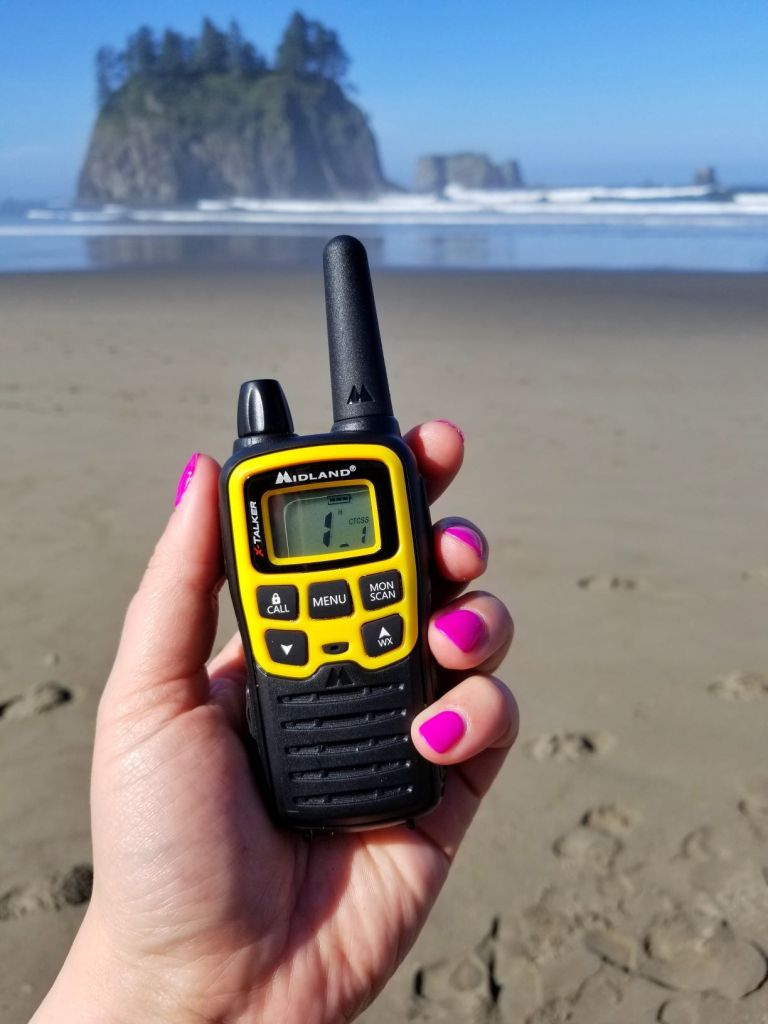 camping gadget walkie talkie on the beach