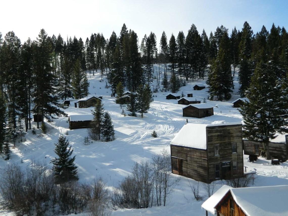 Garnet Ghost Town in winter, Montana