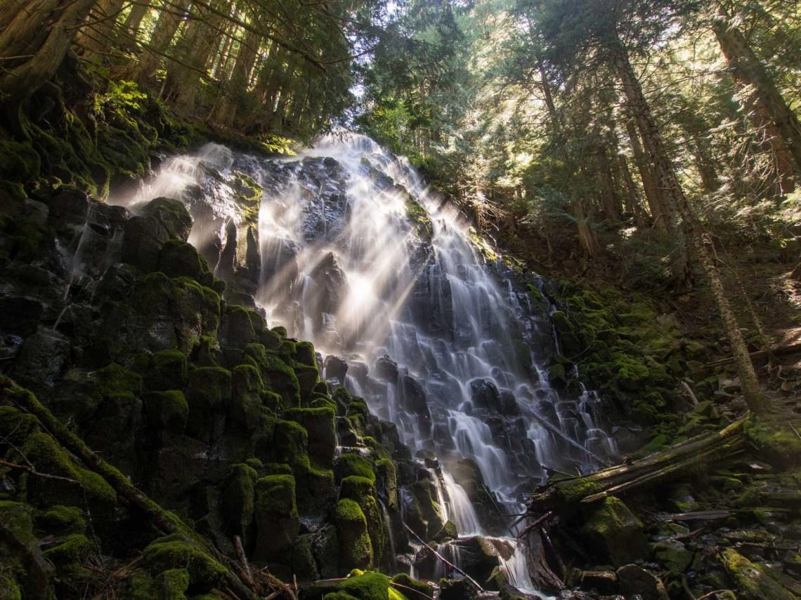 ramona falls cascading down rocks in Oregon's Mt. Hood National Forest