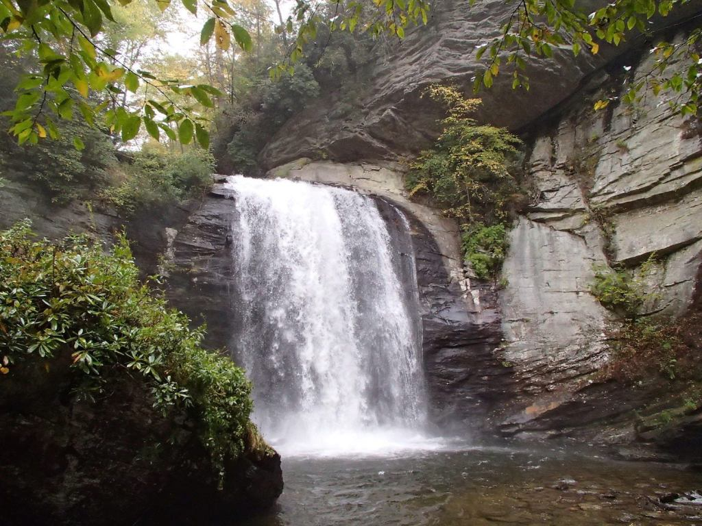 a waterfall flows on the Davidson river which runs through the campground