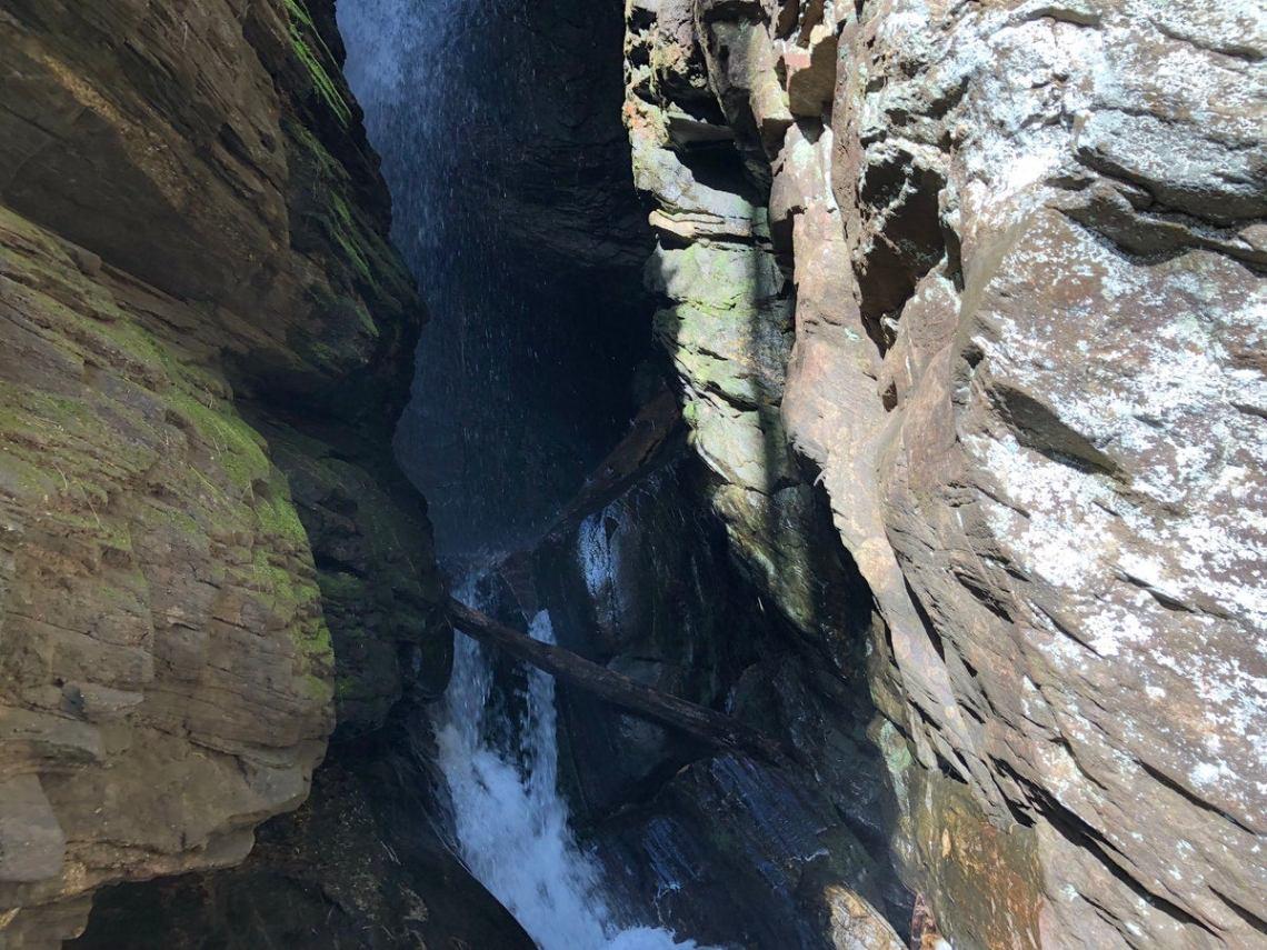 closeup look of the split at raven cliff falls