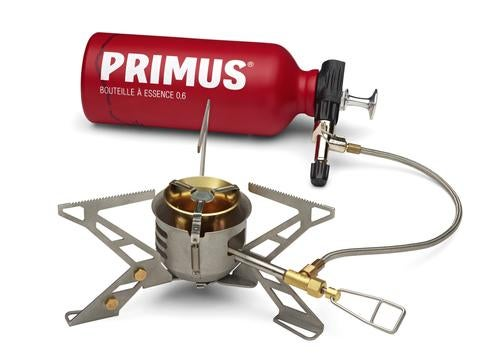 primus stove demonstration on a white background