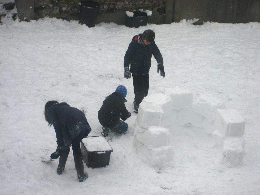 winter camping in igloo