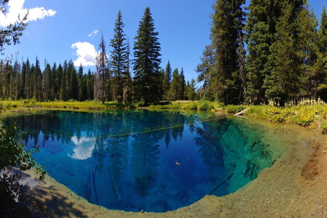 the little crater lake in southern oregon surrounded by douglas fir trees