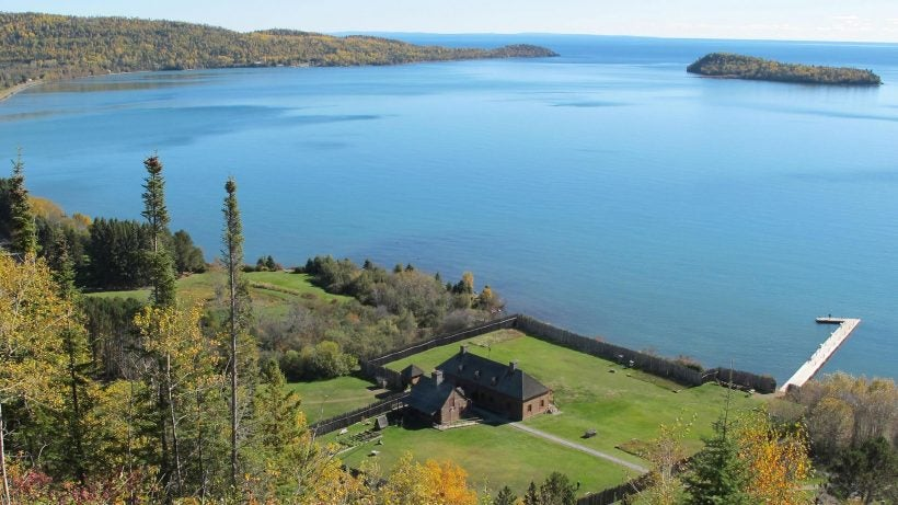 aerial view of grand portage, mn
