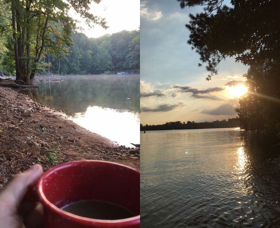 camper with coffee mug in front of morning fog on lake, beside image of sunset on the same lake