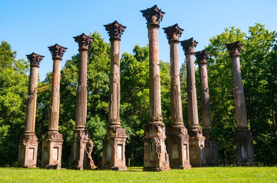 stone columns from the windsor ruins along the natchez trace trail