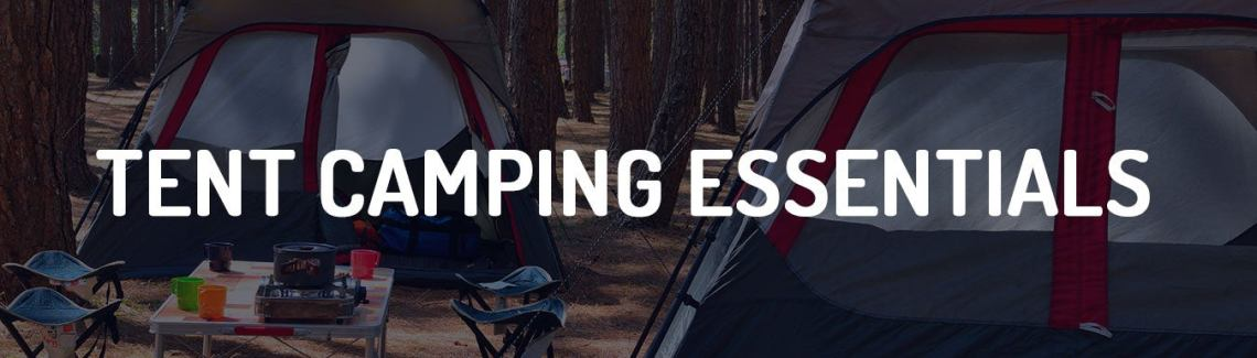 banner for camping gift guide, text: tent camping essentials