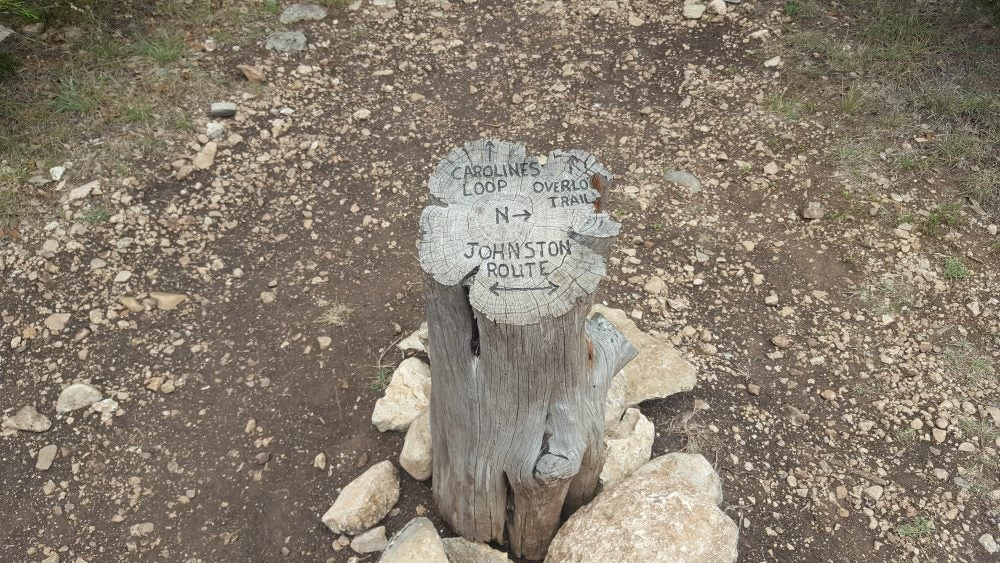 Tree stump with carved directions to different trails in Government Canyon State Natural Area