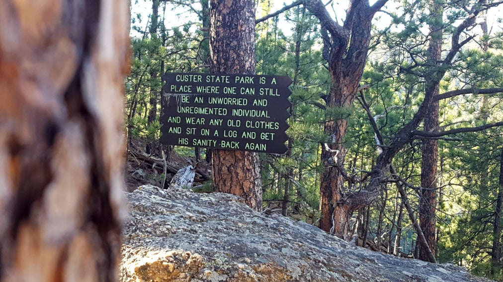 a sign for custer state park posted on a tree
