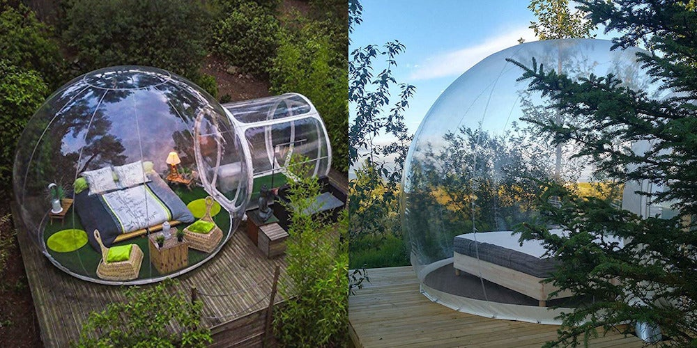 two side by side images of inflatable bubble glamping tent set on wood platforms in the wilderness