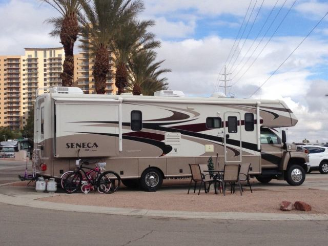 An rv parked while boondocking near las vegas.