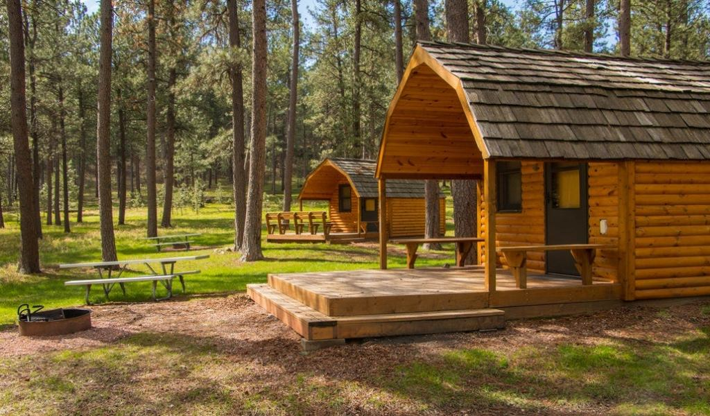 a cluster of cabins in the forest with picnic tables and fire pits at blue bell lodge