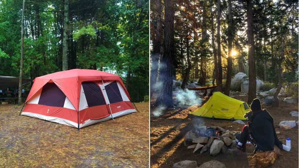 (left) large red tent in forested campsite (right) woman bundled up near campfire drinking coffee with yellow backpacking tent in distance