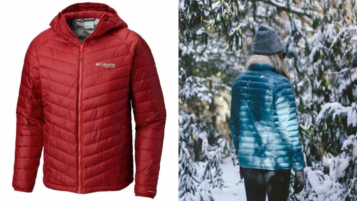 (left) red puffy coat (right) woman in gray stocking hat and teal puffy coat standing on snow covered trail surrounded by snow covered branches