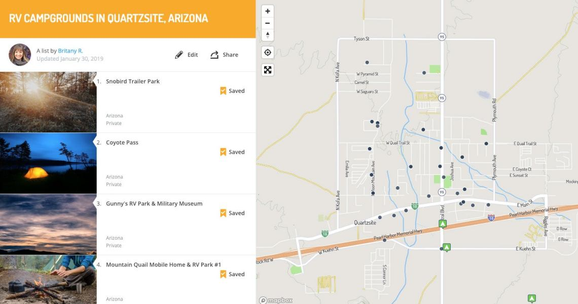 Map Of Arizona Rv Parks.Quartzsite Az A Guide For Rv Campers In The Mobile Living Mecca