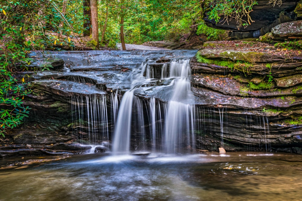 the Carrick Creek falls flowing into a still pool with summer foliage in the background